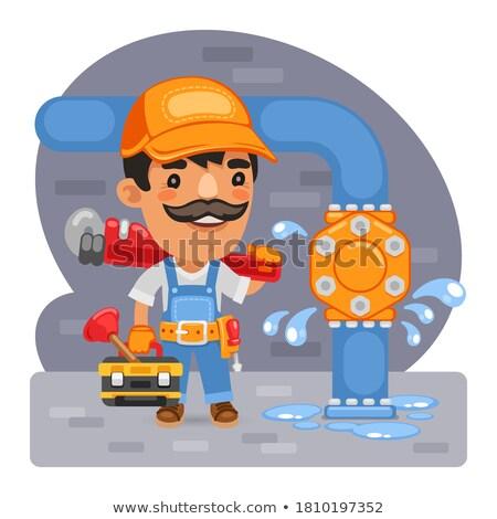 composite image of workman holding pipe wrench stock photo © wavebreak_media