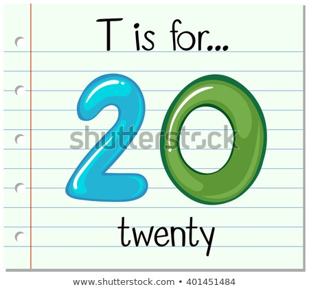 Flashcard letter T is for twenty Stock photo © bluering