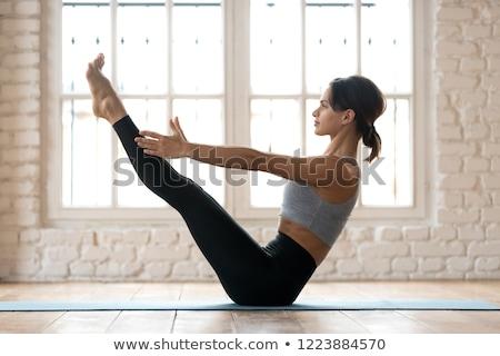 Pilates pozisyon esnek kadın vücut uygunluk Stok fotoğraf © alphaspirit