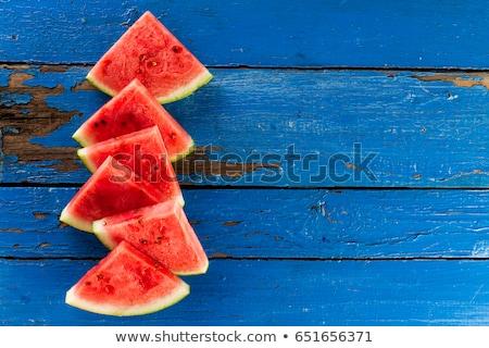 watermeloen · rustiek · Blauw · houten · tafel · selectieve · aandacht - stockfoto © stevanovicigor