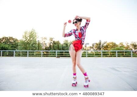 девушки купальник леденец улице молодые Сток-фото © deandrobot