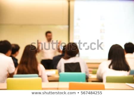 группа · ручках · таблице · деревянный · стол · текстуры · школы - Сток-фото © fuzzbones0