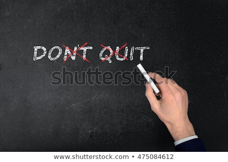 Stock photo: Never give up text on school board