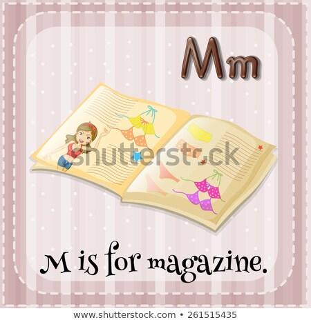 Letra m revista ilustração fundo arte educação Foto stock © bluering