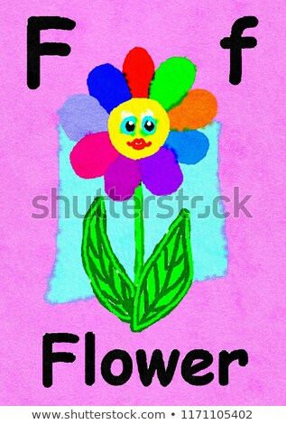 Flashcard letter F is for face Stock photo © bluering
