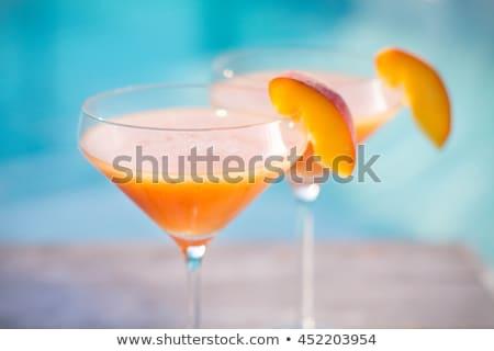 Foto stock: Dois · cocktails · comida · fundo · laranja · bar