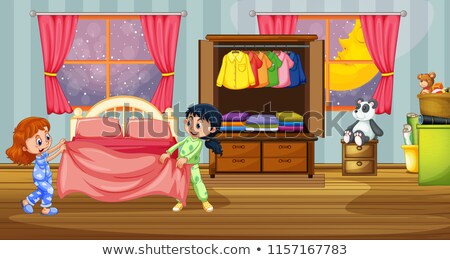 девушки пижама спальня иллюстрация луна ночь Сток-фото © adrenalina