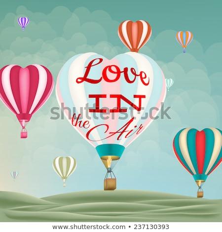 Hőlégballon szív alak eps 10 vektor akta Stock fotó © beholdereye