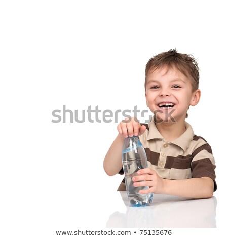 nino · apertura · botella · agua - foto stock © vystek
