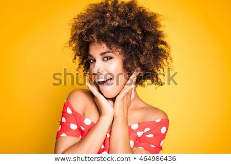 afro-amerikaanse · meisje · rode · jurk · mooie · jonge · vrouw - stockfoto © neonshot