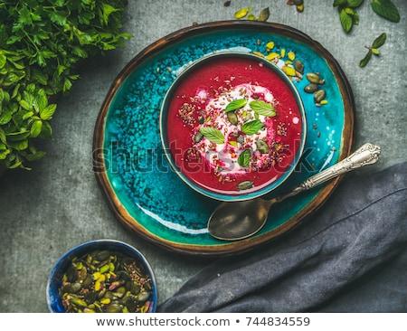 Vegan çorba gri lezzetli sağlıklı malzemeler Stok fotoğraf © artjazz