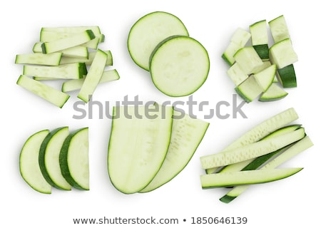 Egész szeletel cukkini szeletek fehér étel Stock fotó © Digifoodstock