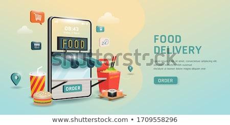 Vektor online étel rendelés laptop kávé Stock fotó © curiosity