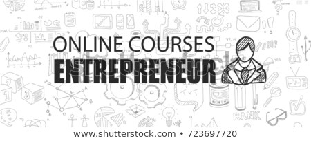 entrepreneur concept with business doodle design style online courses sales and offers best pract stock photo © davidarts
