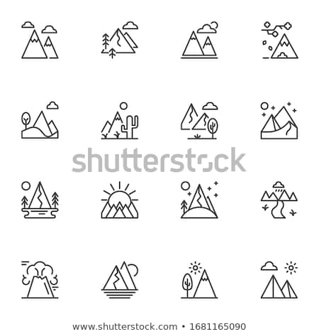 Icon of mountains in a linear Stock photo © Olena