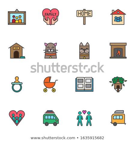 família · álbum · linha · ícone · vetor · isolado - foto stock © rastudio