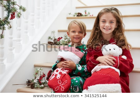 Brother and sister with stocking Stock photo © IS2