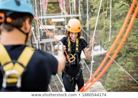 zakenvrouw · lopen · denkbeeldig · touw · geïsoleerd · business - stockfoto © tiero