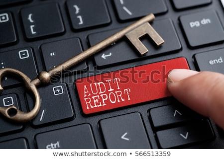 Foto d'archivio: Audit Report Closeup Of Keyboard