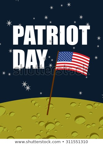 Patriot day. American flag on moon surface. Flag USA on yellow p Stock photo © popaukropa