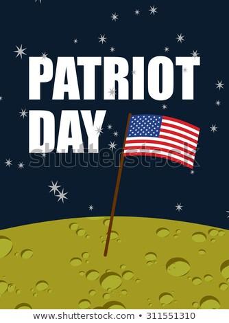 Patriota dzień amerykańską flagę księżyc powierzchnia banderą Zdjęcia stock © popaukropa