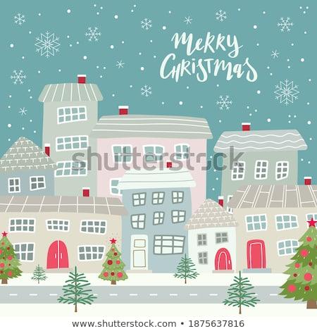 Christmas vintage postcard with house Stock photo © Sonya_illustrations