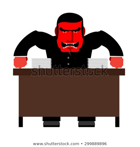 Angry boss. Chief Red with anger at  table. Head of swears and s Stock photo © popaukropa