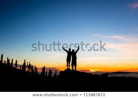 Teamwork couple climbing and reaching mountain peak Stock photo © blasbike