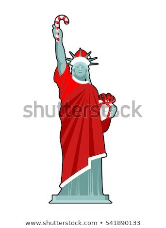 Santa Statue of Liberty. Candy cane and gift box. Monument in su Stock photo © popaukropa