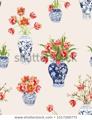 Red tulip in vase seamless pattern. Beautiful flowers in jug tex Stock photo © popaukropa