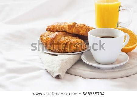 croissant · koffie · thee · beker · Blauw - stockfoto © m-studio
