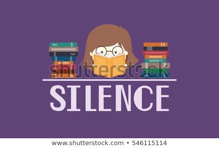 kid girl library poster silence stock photo © lenm