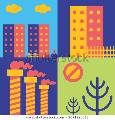 Achterbuurt stad pijp fabriek huis champignons Stockfoto © popaukropa