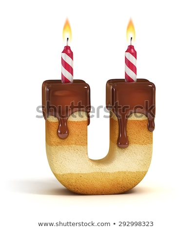 Letter U birthday font. Letter and candle. anniversary alphabet  Stock photo © popaukropa