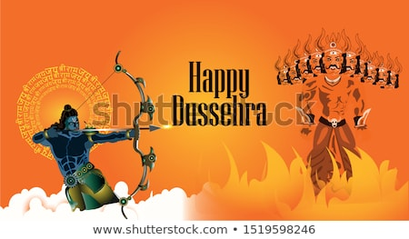 Lord Rama and Ravana in Dussehra Navratri festival of India poster Stock photo © vectomart