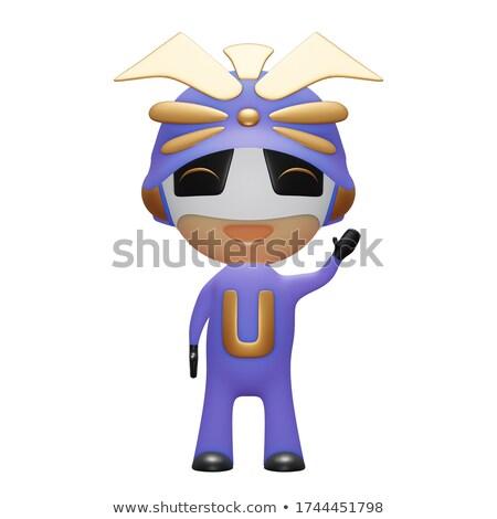 Cartoon Samurai Waving Stock photo © cthoman