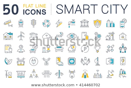 Stock fotó: Digitális · vektor · öko · szállítás · ikon · szett · zöld