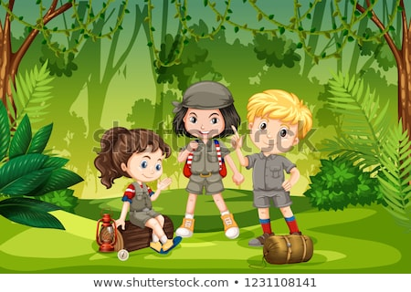 Três escoteiro crianças selva ilustração menina Foto stock © bluering