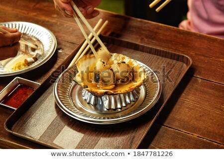 Set of fresh and cook scallop Stock photo © bluering