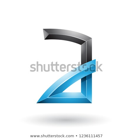 Blue and Black Embossed Letter A with Bended Joints Vector Illus Stock photo © cidepix