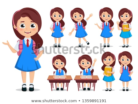 teen or elementary girl cartoon illustration Stock photo © izakowski