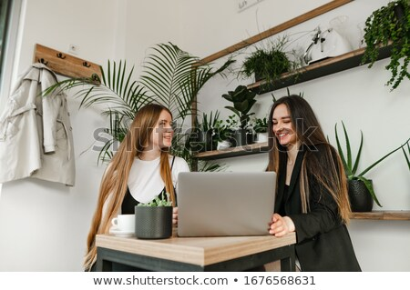 Gülen iş adamları dizüstü bilgisayar kullanıyorsanız bilgisayar ofis Internet Stok fotoğraf © Minervastock