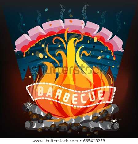 Barbecue Party Emblem and Friends around Grill Stock photo © robuart