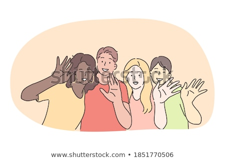 group of happy international friends waving hands Stock photo © dolgachov