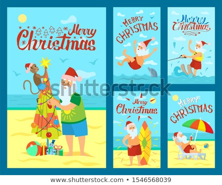 веселый Рождества Дед Мороз серфинга совета дельфин Сток-фото © robuart