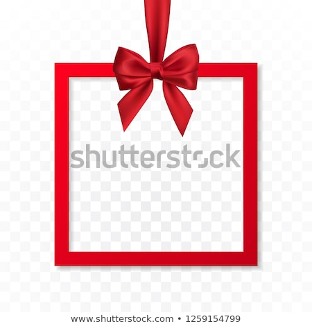 Bright holiday gift box frame banner hanging with red ribbon and silky bow on white background. Vect Stock photo © olehsvetiukha