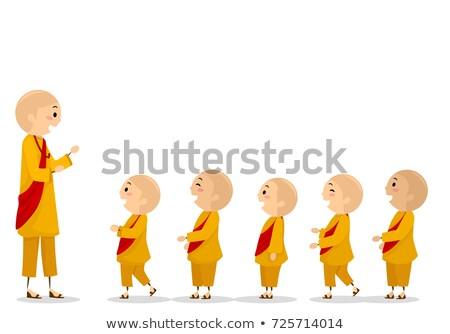 дети монах линия мальчики иллюстрация Сток-фото © lenm