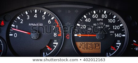 mph miles per hour speedometer odometer automotive dashboard gauge vector illustration stock photo © jeff_hobrath