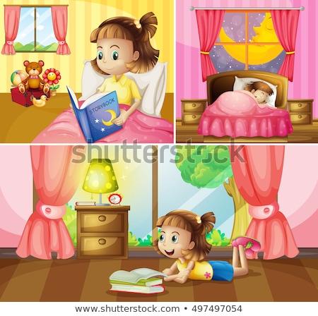 Girl doing different activities at home Stock photo © colematt