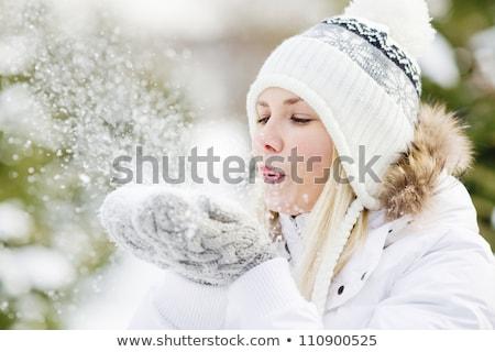 portré · fiatal · lány · visel · kalap · pulóver · tart - stock fotó © deandrobot